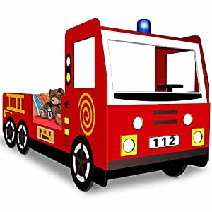 Child Car Bed Frame Fire Truck Toddler Bed Kids Bedroom Furniture - 205x103cm - Fire Engine Bed Frame