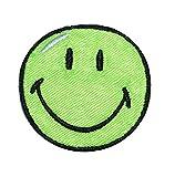 Bügelbild - Smiley grün - 5,5 cm * 5,5 cm - Aufnäher gewebter Flicken / Applikation - Gesichter Smile Emotion Smileys / lachend grinsend - bunt World - Mädchen Jungen Kinder Erwachsene - Smilies