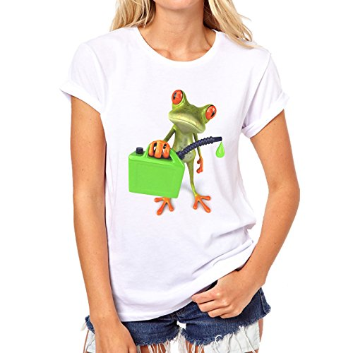 Frog Gas Bag Red Eyes Green Standing Damen T-Shirt Weiß