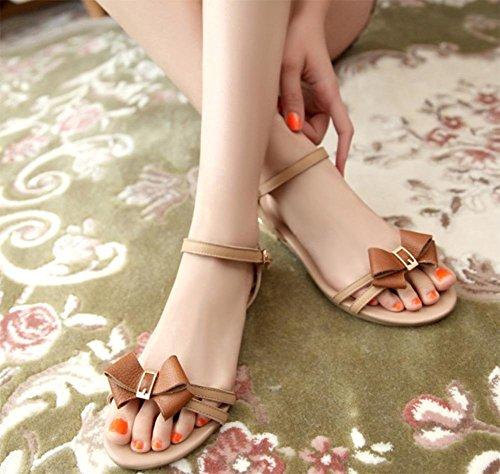 Blumen Bogen Sandalen offene Sandalen und Pantoffeln Sommer Sandalen flach mit flachen Schuhen apricot