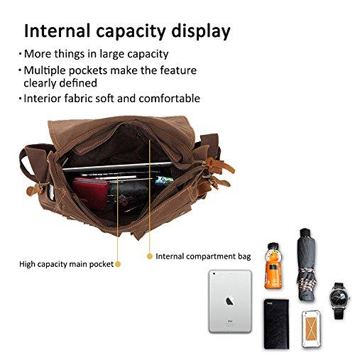 FANDARE Neu Retro Messenger Bag Umhängetasche Schultertasche 14 Zoll Laptoprucksäcke Herren Frauen Tasche Kuriertasche Multifunktions Canvas Braun Schwarz
