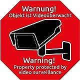 """Kamera Warnaufkleber (10 Stück) mit UV-Schutz für Fenster, Tür, Garagentor, Haus, Kellerfenster, Aussenklebend Kamera Aufkleber """"Warnung - Objekt ist Videoüberwacht"""" Hinweis Abschreckung Videoüberwachung als Einbruchschutz zum Abschrecken von Einbrechern"""