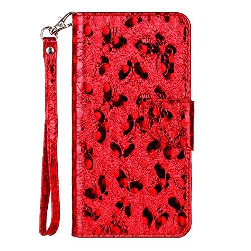 iPhone 6 Plus Hülle, SHUNDA Brieftasche Schutzhülle Flip Leder Handyhülle mit Kippständer Bling Schmetterling Bookstyle Handycover für iPhone 6 Plus / 6S Plus - Rot Rot