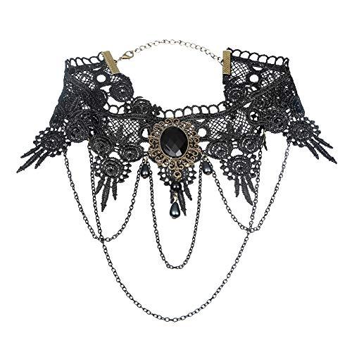 TrifyCore Halskette Frauen-Punk Style Gothic Black Lace Quasten Tattoo Chokerkette Korn-Anhänger Halskette für Party - Schwarz