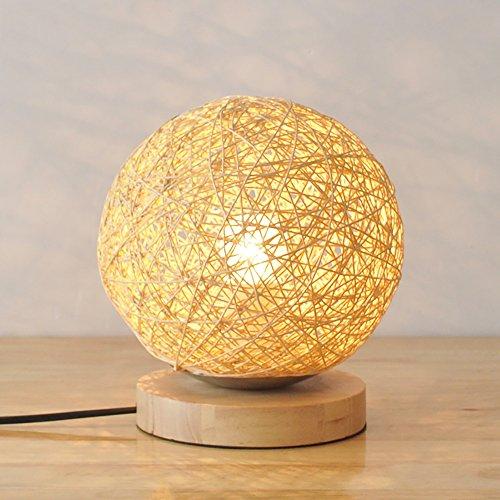 TOYM UK Chambre lampe de chevet créative simple moderne lin rotin balle alimentation petite lampe de table