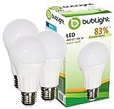 3x Bublight LED Lampen E27 9W, ersetzt 55W Glühbirnen, Energieklasse A+ (E-A ++), 3000 Kelvin warmweiß Glühlampe Sparlampe LED-Glühlampen Leuchte