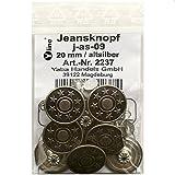 8 Jeans Knöpfe altsilber 20 mm, Jeansknöpfe Metallknopf, Metall Knöpfe, nähfrei, im Polybeutel, sl, 2237