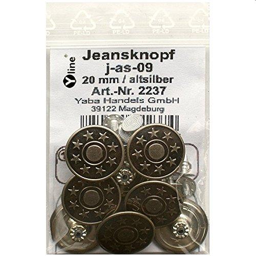 8 Jeans Knöpfe altsilber 20 mm, Jeansknöpfe Metallknopf, Metall Knöpfe, nähfrei, im Polybeutel, j-as-09