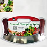 Mezzaluna Rocking Vegetable Chopper Mincing Curved Kife 10' Stainless Steel New