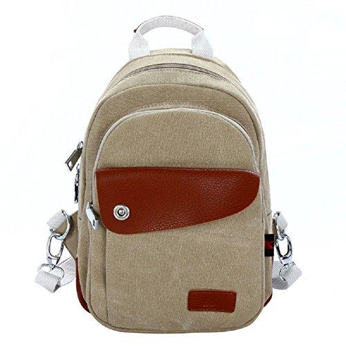 Zaini Tela Vintage - Landove Zaino Casual Tasche Borse a Zinetto Donna Uomo per Viaggio / Spiaggia / Scuola / Sportiva cachi