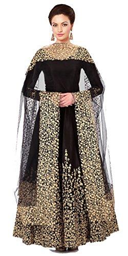 Clickedia Women Faux Georgette Salwar Suit Dress Material (Sauve 2112 _Black _Free Size)