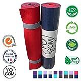 Tapis de yoga non toxique et anti-dérapant : marque française, qualité premium, écologique, épais, amortissant et anti-transpirant - sangle de transport - 183x61x0,6 (10 couleurs)