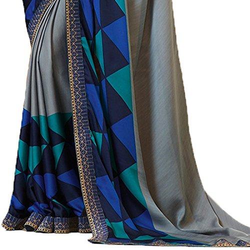 Visat Designer Women's Georgette Printed Border Work sarees for women latest design 2018 With Blouse Piece Material(A20Grey-VISAT DESIGNER15# Grey # Free Size)