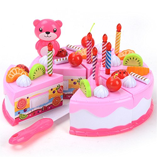 PlayMaty Mädchen Spielzeug Essen Spiel Set Geburtstagstorte DIY Schneiden Pretend Spiel für Kinder Geburtstagsfeier Geschenke Rosa 37pcs