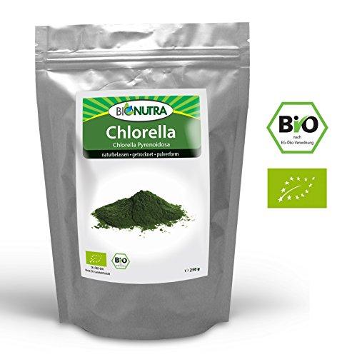 BioNutra Chlorella Bio (Chlorella Pyrenoidosa) 250 g, pulverform, ohne Zusätze, rückstandskontrolliert, aus kontrolliert biologischer Kultur