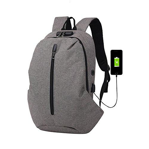 Rucksack Sportbeutel Mädchen Backpack Schultaschen Für Herren Tasche Wanderrucksack Reiserucksack,Mode Multifunktionale Anti-Diebstahl-Rucksack Hochleistungs-Laptop-Tasche mit USB(Grau)