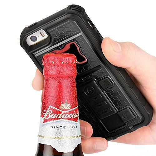 ZVE multifonctions avec allume cigare & bouteille/décapsuleur bière Coque pour iPhone 5/5S, Silicone, noir, Iphone 5 5s 131.6*66.5*20mm noir