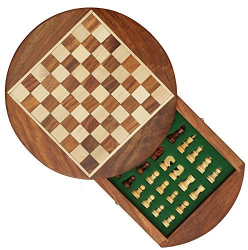 WINTER Verkauf 50% Rabatt - SouvNear Reiseschach - Ultimatives Schach 18 x 18 cm Klassisches Holz Reise Schachspiel mit Magnet Staunton Figuren und Schublade (dient zugleich als Aufbewahrungskoffer) - Handgefertigt von Handwerkern in feines Rosenholz mit einem Walnuss-Finish - Innenraum Familie Brettspiele - 100% Zufriedenheits