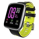 Nanle IP68 imprägniern Sie Fitness-Verfolger-Bluetooth Intelligente Uhr-Eignungs-Verfolger-Uhr mit Pulsmesser-Schrittzähler-Schlaf-Monitor-Stoppuhr-SMS Anruf-Mitteilung (Farbe : Gelb)