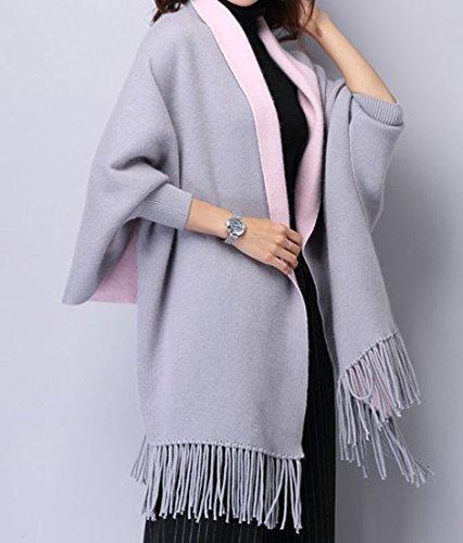 MyBeautyworld24 Frauen Kaschmir Poncho Strickjacke Strickpullover Mantel Schal Winter Pullover Oversize Schal Poncho mit Ärmeln in grau/rosa (Design Kaschmir-pullover)