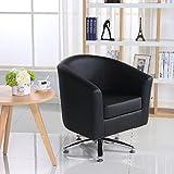 Designer Leder-Drehstuhl, Armsessel für Wohnzimmer, Esszimmer, Büro oder den Empfang. 71W x 64D x 77H cm schwarz