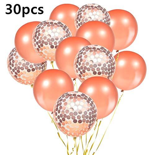 Imanom 30pcs Globos de Confeti 12 'Oro Rosa, Globos de látex para la Fiesta de graduación Ceremonia de celebración de la Boda de Navidad Decoraciones de Halloween de la Navidad