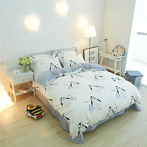 HTST Einfache Bettwäsche 4pcs Bettbezug 100% Baumwolle Doppelbett Set Tröster Sets Doppel Bettwäsche Gesetzt, E, 150*200cm (Set Tröster Solide)
