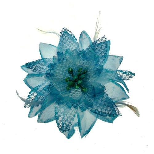 Acosta-Blue Glitter & piuma, motivo: giglio con perle in tessuto-Spilla a Clip, capelli, accessorio alla moda