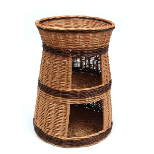 Three Tier Wicker Pet Bed House Basket