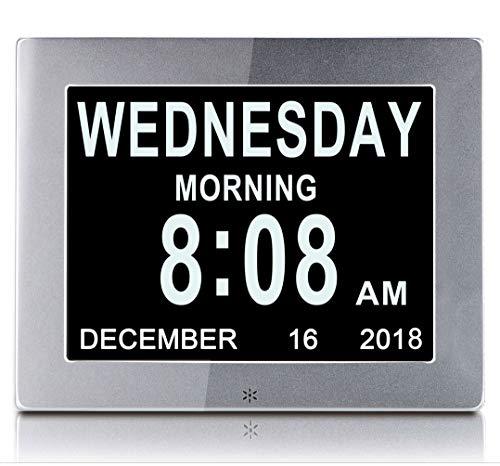 ZYWTZ Reloj Demencia Reloj Despertador Digital De Metal De 8 Pulgadas Calendario Electronico Reloj Digital con Discapacidad Visual Regalo para Padres y Ancianos,Silver