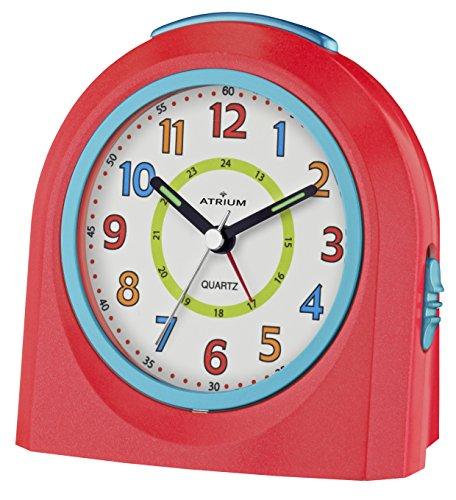 ATRIUM sveglia analogica rossa senza ticchettio, con luce e funzione snooze A921-1