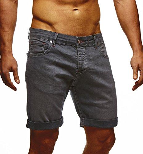 LEIF NELSON Herren Jeans Shorts LN1397; W33; Anthrazit