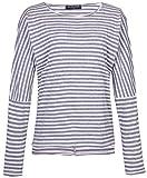 Fleasee Damen Streife Langarm Shirt mit Blumen Druck Rundhalsausschnitt Basicshirt Oberteile