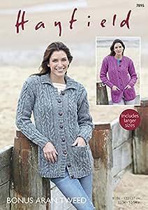 Hayfield Ladies Cardigans Knitting Pattern 7895 Aran: Amazon