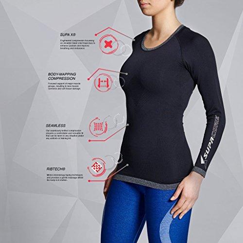 Supacore Training Long Sleeve Top Haut de Compression Femme, Rose Gris chiné