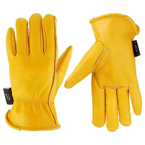 Guanti da lavoro per giardinaggio in pelle Kim Yuan/taglio/costruzione/Farm/Moto, uomini e donne, con elastico per polso, M/L/XL, giallo