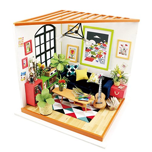 Kinder Wooden Mini Toy House Kit-Mini Studio-3d Puzzle-Flash LED Light Toy-Home DIY for Boy Girl Gift Cover -