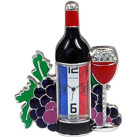 Miniature French Wine Bottle & Glass Novelty Quartz Collectors Clock
