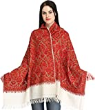 Exotic India Ivory and Red Kashmiri Stole with Ari Hand-Embroidery All-Ove - Red