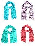 Raksha Bandhan Special Sri Belha Fashions Set Combo of 4 Summer Scarves Soft PolyCotton Women