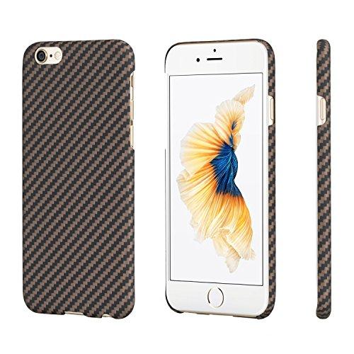 iPhone 6 Plus/ iPhone 6s Plus Hülle, PITAKA Aramid-Faser [Kugelsicheres Material] Handyhülle Dünne(0.65mm) Ultra Leicht(8g) Hochwertige Langlebige Schutzhülle mit Schutzfolie für iPhone6 Plus/6s Plus, Schwarz/Gold(5,5 Zoll)