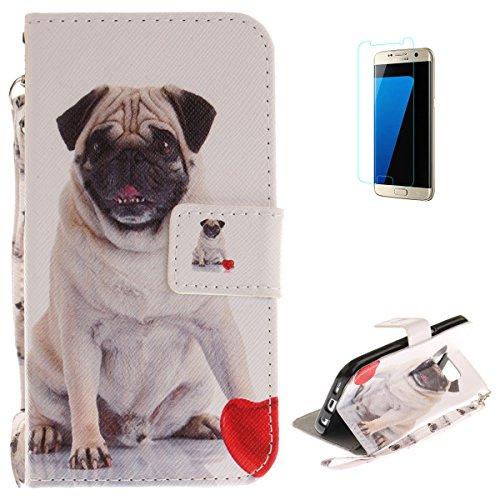 KaseHom Compatible with Case Samsung Galaxy S7 Flip Magnetisch Leder Hülle Brieftasche Fall Kratzfest Haut Schlankes Silikongel Stoßstange Ganzkörperschutz Abdeckung für Samsung Galaxy S7-Süßer Hund