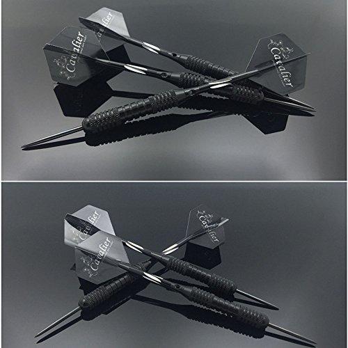 Preisvergleich Produktbild Dartpfeile Steeldarts profi dartpfeile dartscheibe 3 Stück 22 g Dartset Turnier Steel Tip Dartpfeile Set mit Hard Box Case Beschichtete Metallfässer, PET-Flüge (Schwarz)