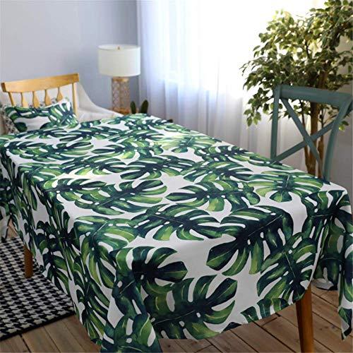 Rechteckige Tischdecken Polyester Baumwolle wasserdichte Tischdecke Modern Green Leaves Rechteckige Tischdecke A01 140x220cm ()