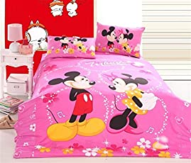 SinghsVillas Decor Kids Cartoon 144TC Cotton Single Bedsheet With 1 Pillow Covers-Pink