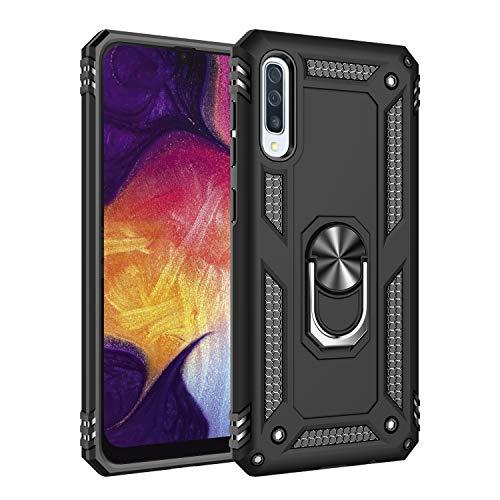 Kompatibel mit Galaxy A50 Hülle Galaxy A70 Hart Schutz Rüstung Handyhülle Magnetische Autohalterung Anti-Rutsch Schutz Anti-Fingerabdruck Hardcase (Schwarz, Galaxy A50)