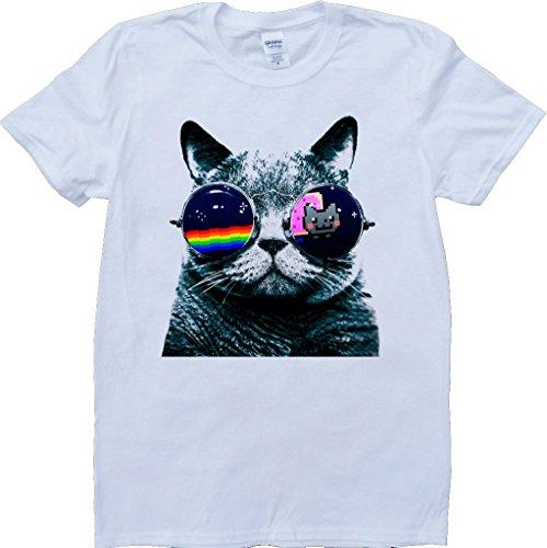 Katze Mit Sonnenbrillen Weiß Benutzerdefinierten Gemacht T-Shirt Weiß