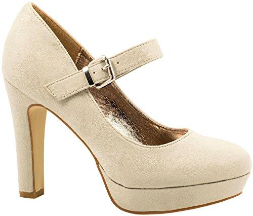 Elara Damen High Heels | Bequeme Spangen Pumps | Riemchen Stilettos | chunkyrayan E22317-Beige-38
