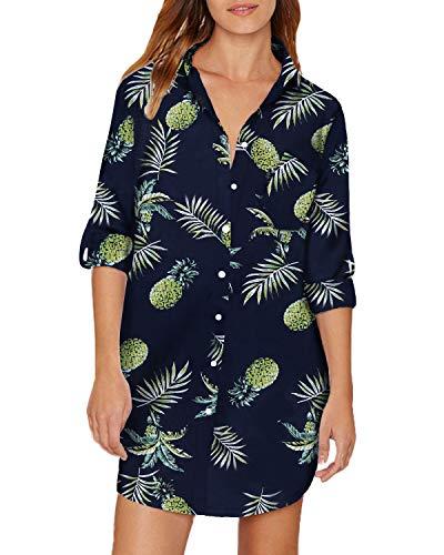 Frau Floral Print-bluse (Auxo Damen V-Ausschnitt Langarmshirt Blumen Lose Longshirts Oversize Oberteil Basic Tops Z-Marine Large)