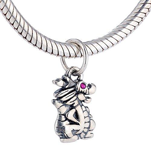 .925 Sterling Silber rote Farbe CZ Stein Augen Drachen Charm für Pandora Armband